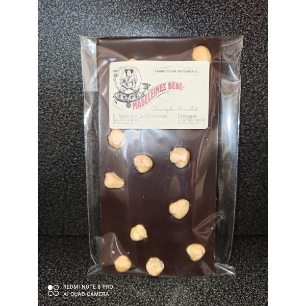 Tablette chocolat noir 70% avec noisettes  100gr
